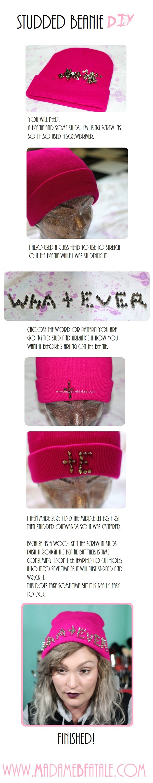 Studded Beanie DIY tutorial whatever 90s grunge